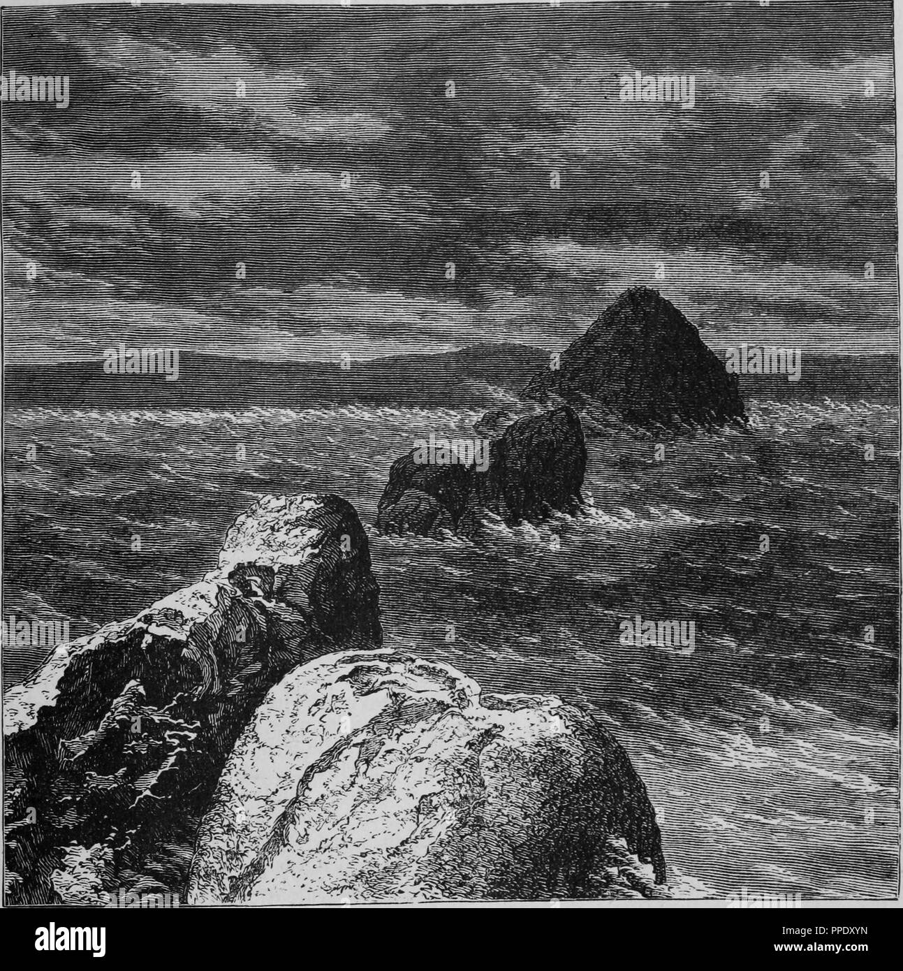 Engraving of rocks in the Pyramid Lake in Nevada, from the book 'The Pacific tourist', 1877. Courtesy Internet Archive. () - Stock Image