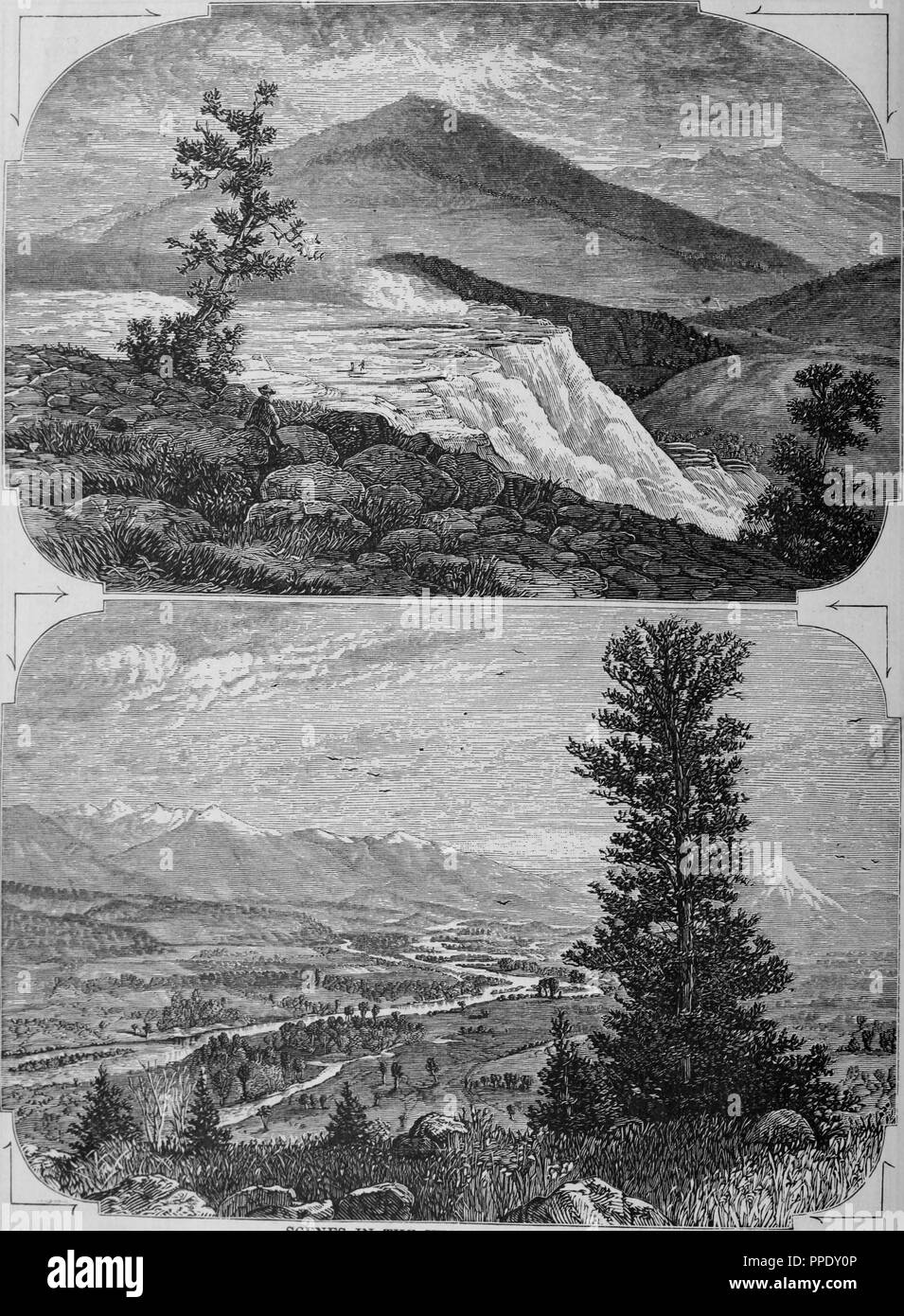 Engraving of the Yellowstone Park, Jupiter's Bath and Soda Mountain, and Walley of Yellowstone, from the book 'The Pacific tourist', 1877. Courtesy Internet Archive. () - Stock Image