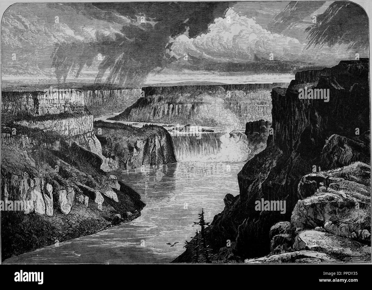 Engraving of the Shoshone Falls on the Snake River in Idaho, from the book 'The Pacific tourist', 1877. Courtesy Internet Archive. () - Stock Image