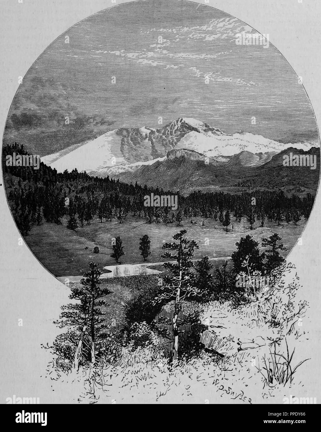 Engraving of Long's Peak viewed from the Estes Park, from the book 'The Pacific tourist', 1877. Courtesy Internet Archive. () - Stock Image