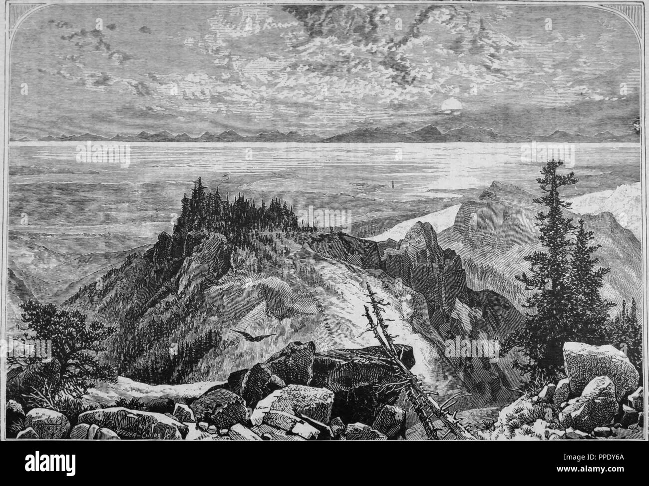 Engraving of the Great Salt Lake viewed from the Wahsatch Mountains, from the book 'The Pacific tourist', 1877. Courtesy Internet Archive. () - Stock Image