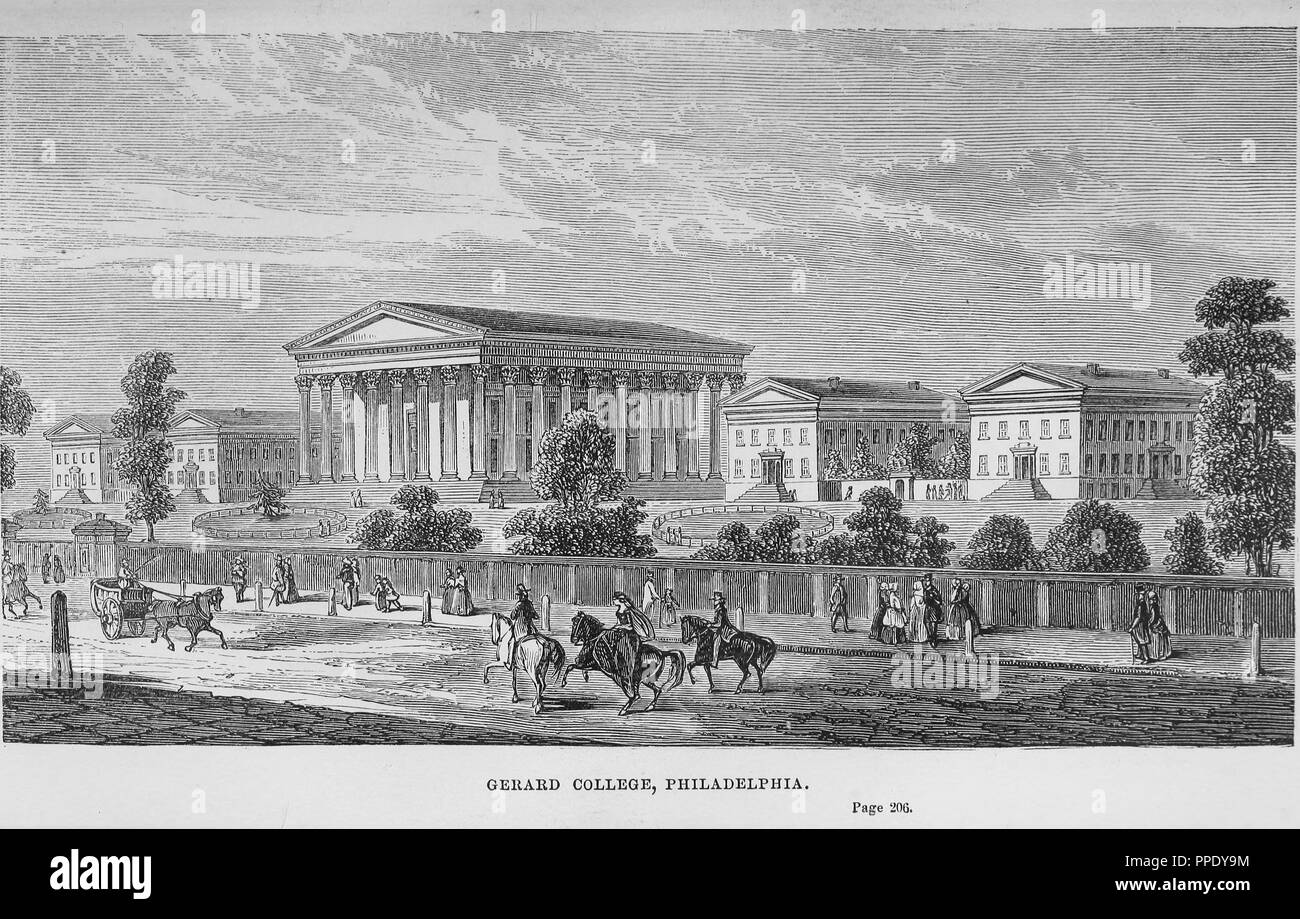 Engraving of the Gerard College, from the book 'Lands of the slave and the free', Philadelphia, Pennsylvania, 1857. Courtesy Internet Archive. () - Stock Image