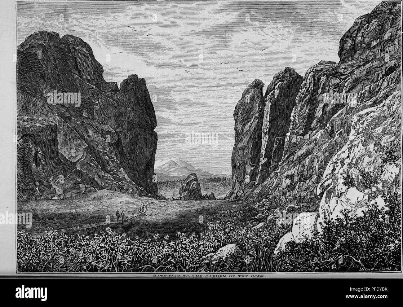 Engraving of the gateway to the Garden of the Gods, from the book 'The Pacific tourist', 1877. Courtesy Internet Archive. () - Stock Image