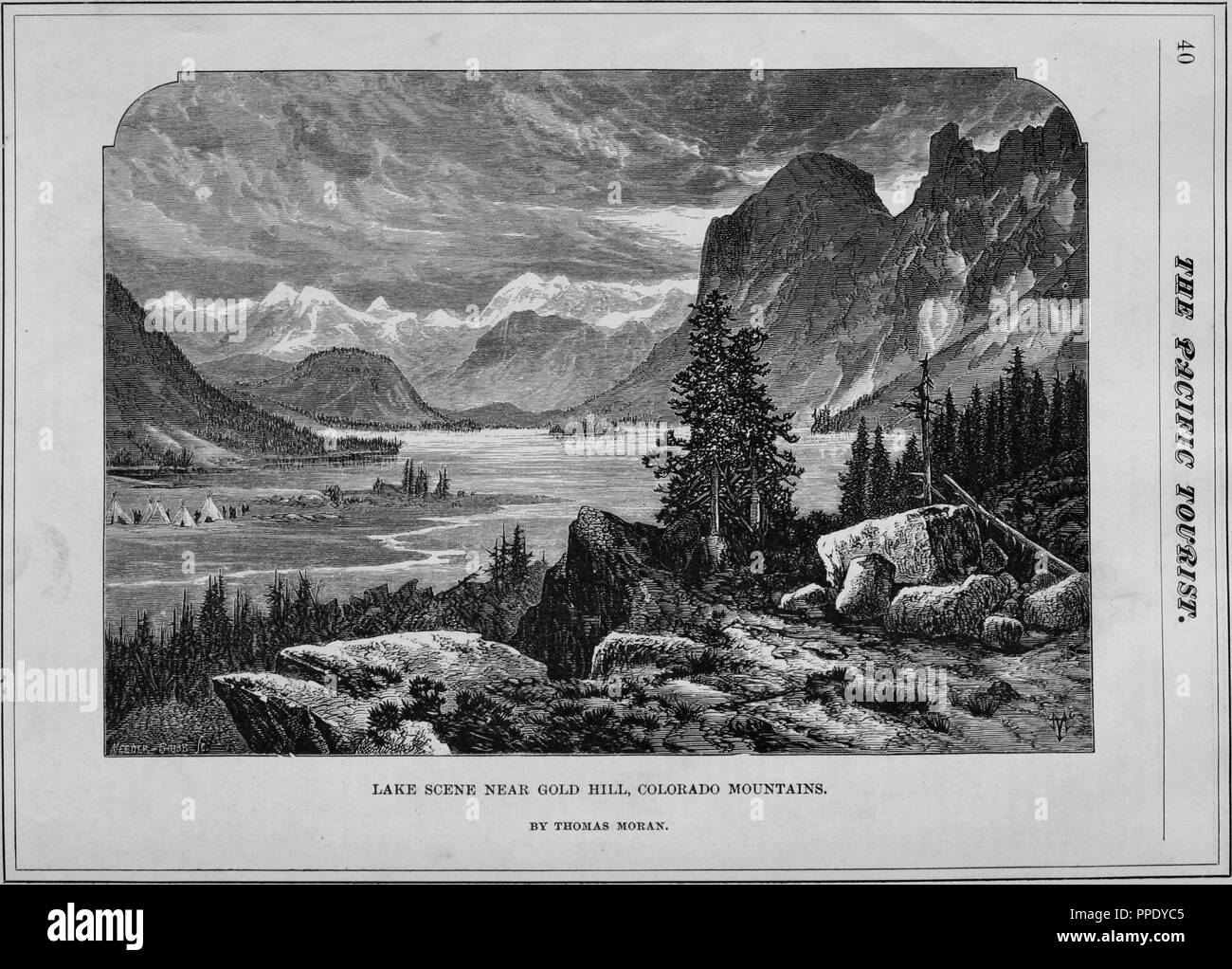 Engraving of a lake near Gold Hill, Colorado Mountains, from the book 'The Pacific tourist', Boulder County, Colorado, 1877. Courtesy Internet Archive. () - Stock Image