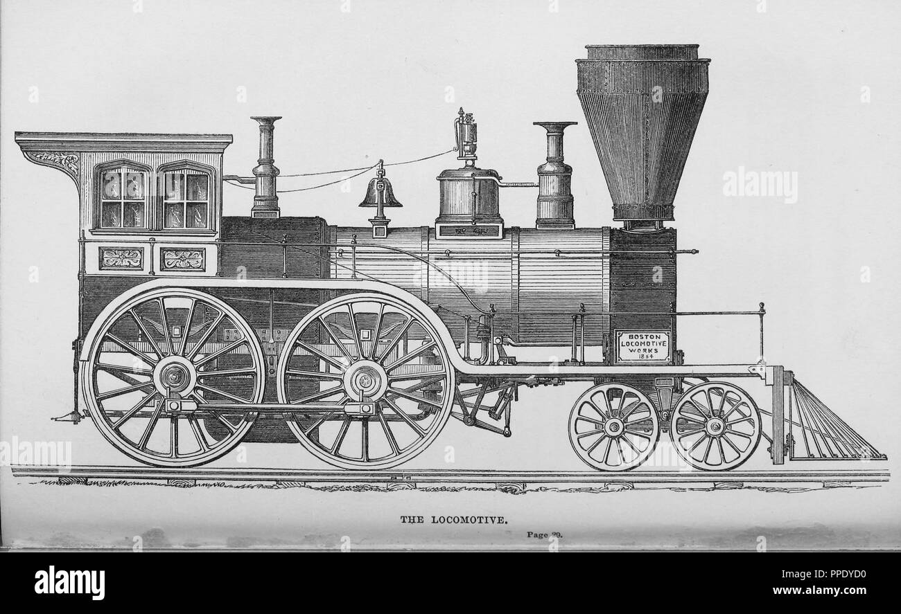 Engraving of the locomotive, made by Boston Locomotive Works, from the book 'Lands of the slave and the free', 1857. Courtesy Internet Archive. () - Stock Image