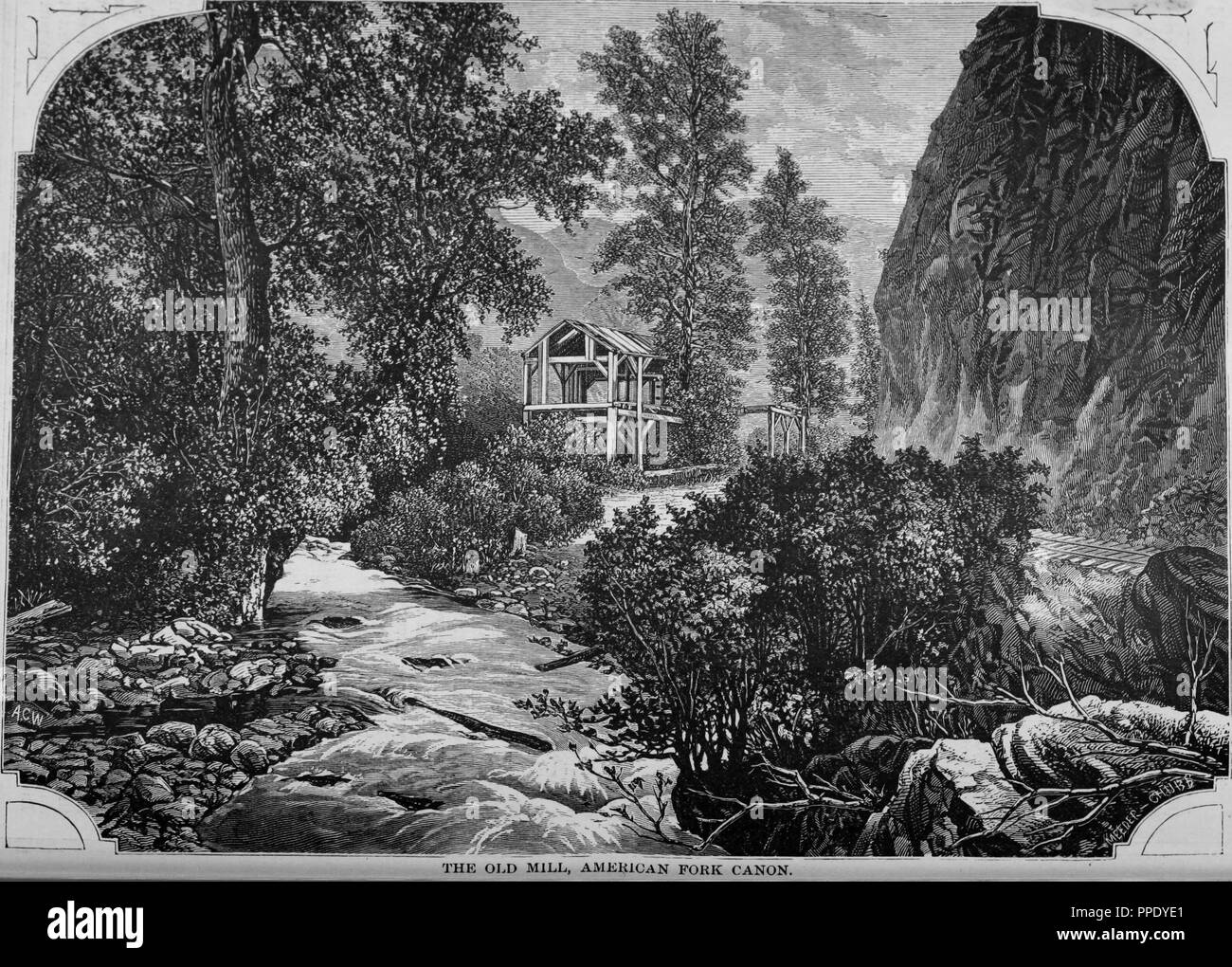 Engraving of the old mill in the American Fork Canyon, Utah, from the book 'The Pacific tourist', 1877. Courtesy Internet Archive. () - Stock Image