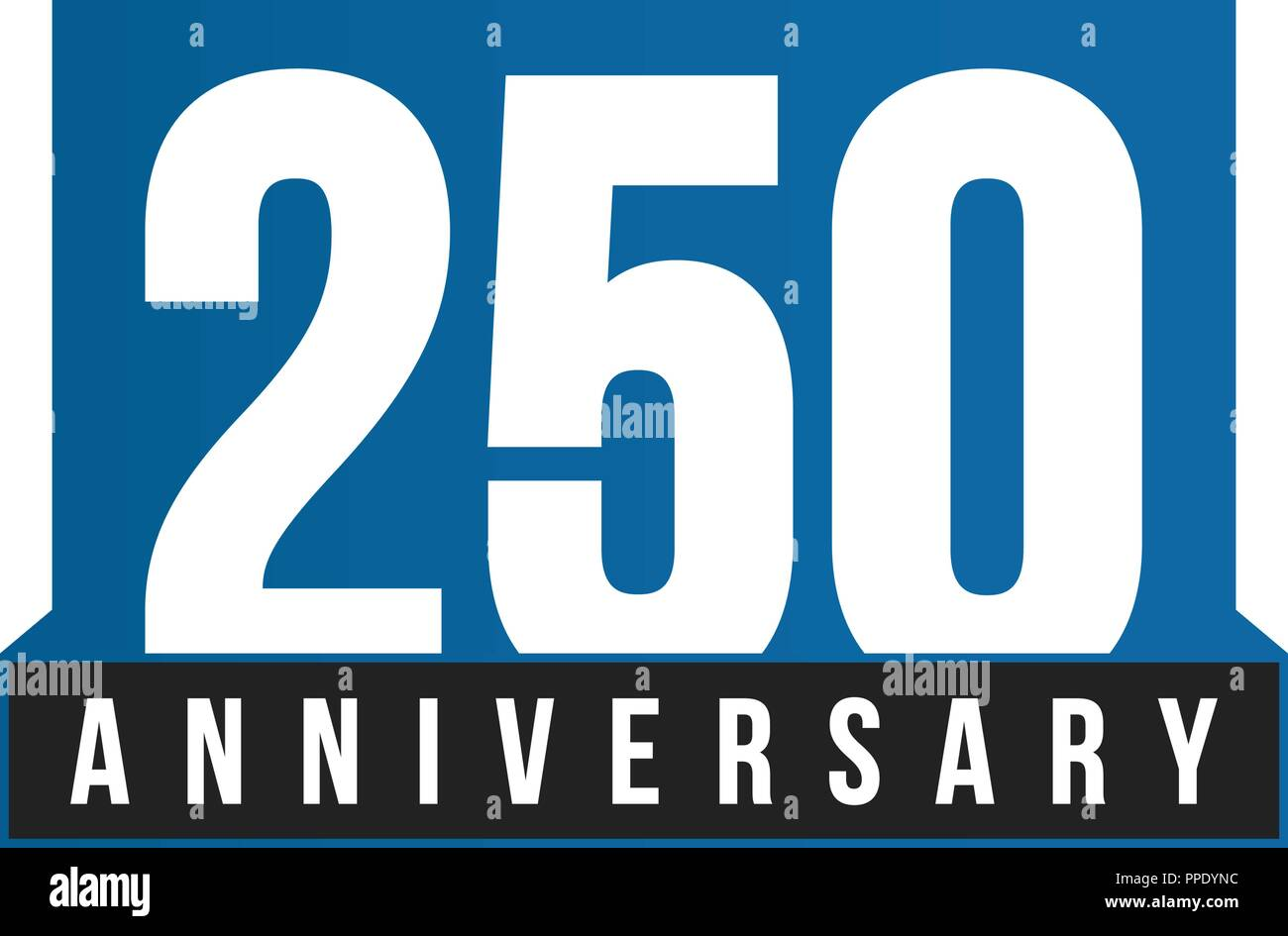 250th Anniversary vector icon. Birthday logo template. Greeting card design element. Simple business anniversary emblem. Blue strict style number. Isolated vector illustration on white background. - Stock Image