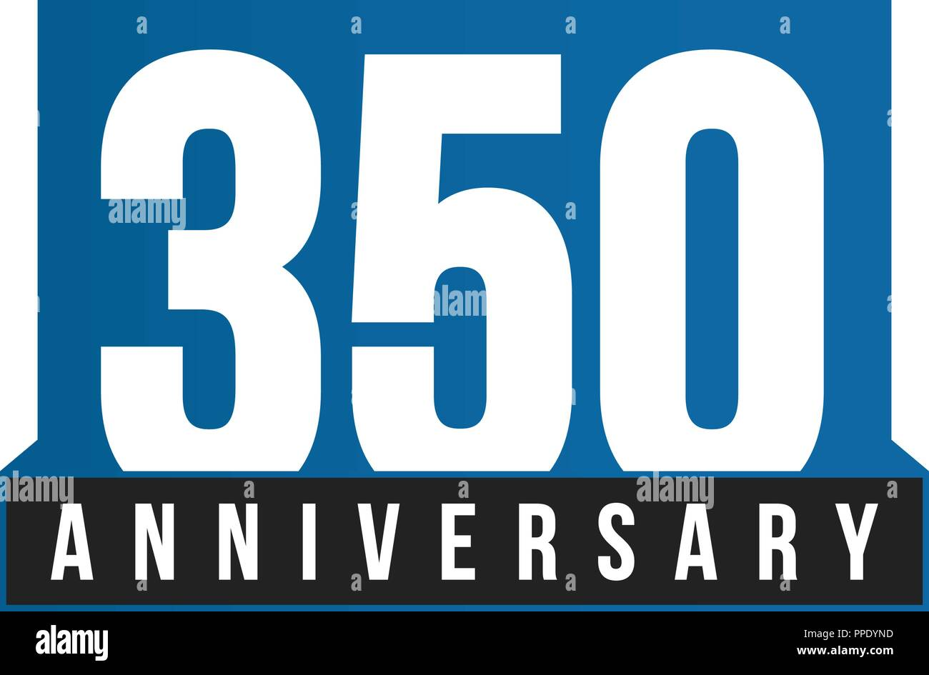 350th Anniversary vector icon. Birthday logo template. Greeting card design element. Simple business anniversary emblem. Blue strict style number. Isolated vector illustration on white background. - Stock Image
