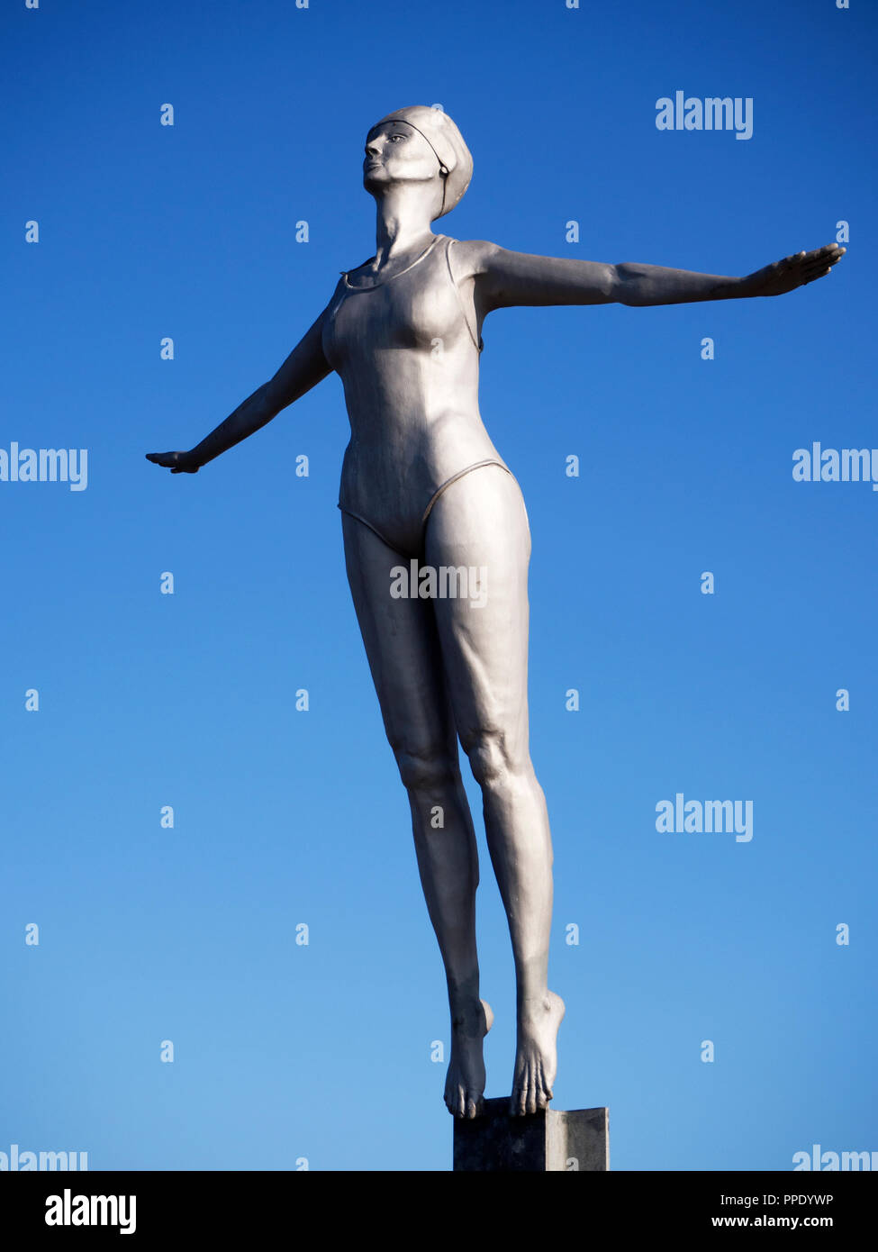 Diving Belle Statue at the harbour in Scarborough North Yorkshire England - Stock Image