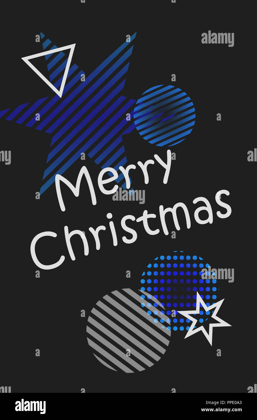 happy new year merry christmas illustration festive with christmas balls stars on a black background gray and blue christmas decorations grey an