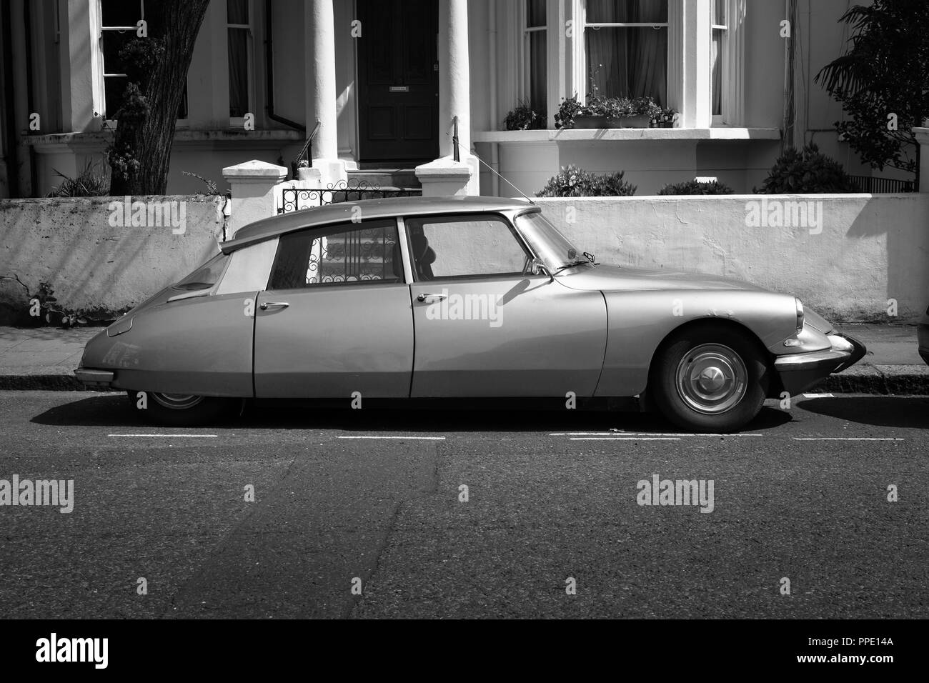 A classic Citroen DS parked in Notting Hill, London. - Stock Image