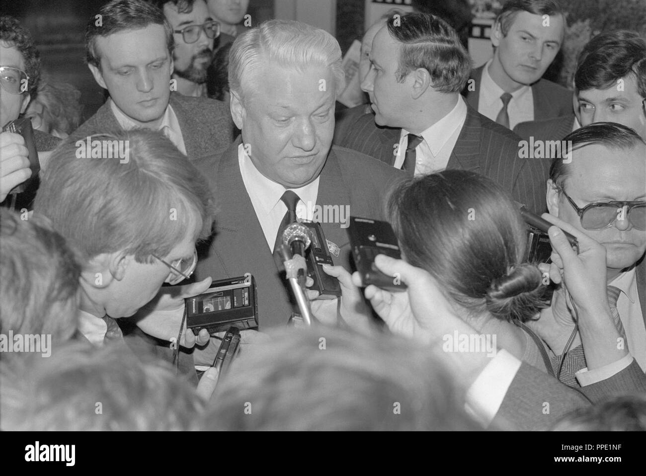 Moscow, Russia - March 28, 1991: Chairman of the Presidium of the Supreme Soviet of the Russian SFSR Boris Nikolayevich Yeltsin talks to correspondents at 3d extraordinary Congress of people's deputies of russian RSFSR. - Stock Image