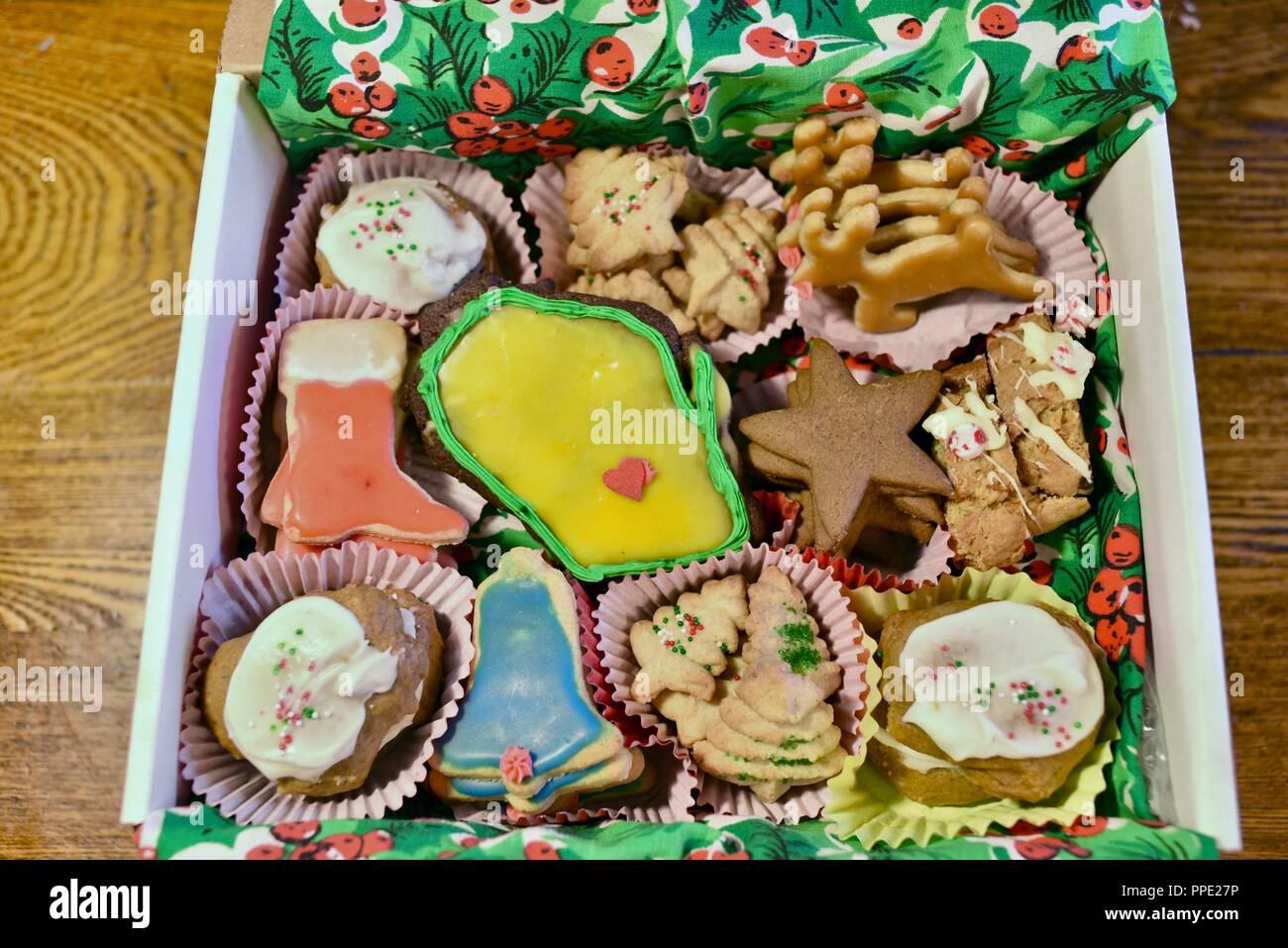 Box Of Assorted Colorful Homemade Home Baked And Hand Decorated