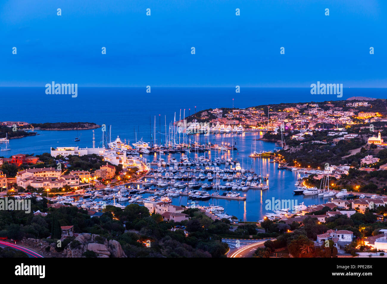 Sunset at the Porto Cervo and the Yacht Club Costa Smeralda - Stock Image