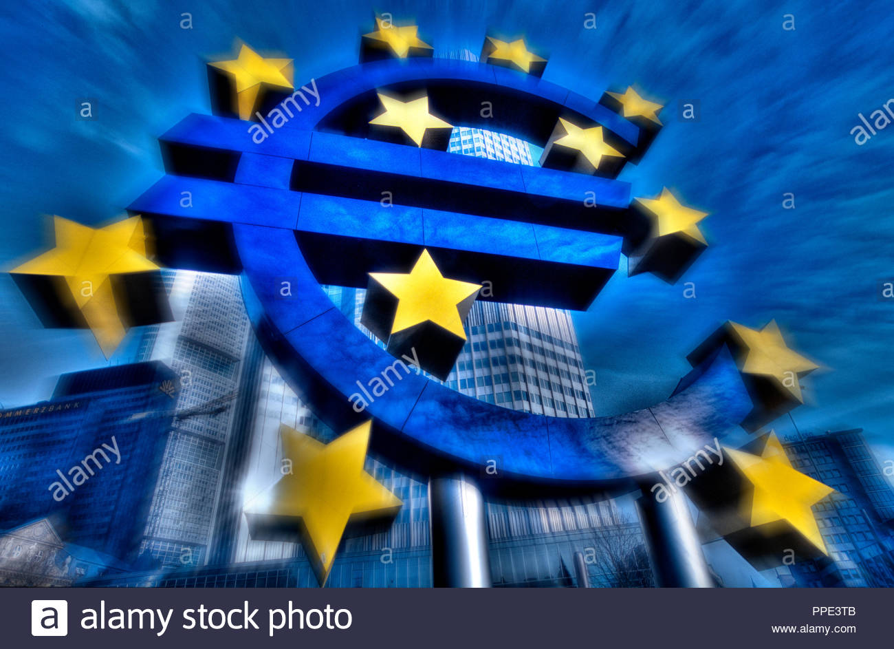 Germany, Hesse, Frankfurt am Main. Euro sign in front of the former European Central Bank ECB. [m}  Deutschland, Hessen, Frankfurt am Main. Euro-Zeich - Stock Image