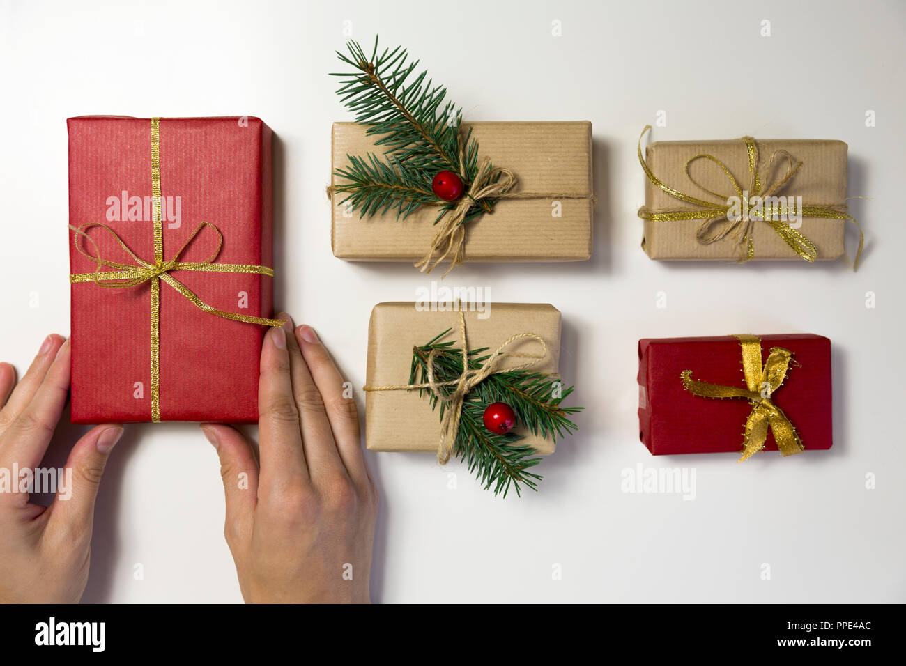 Christmas Presents For Women.Beautiful Women Preparing Christmas Presents Holiday And