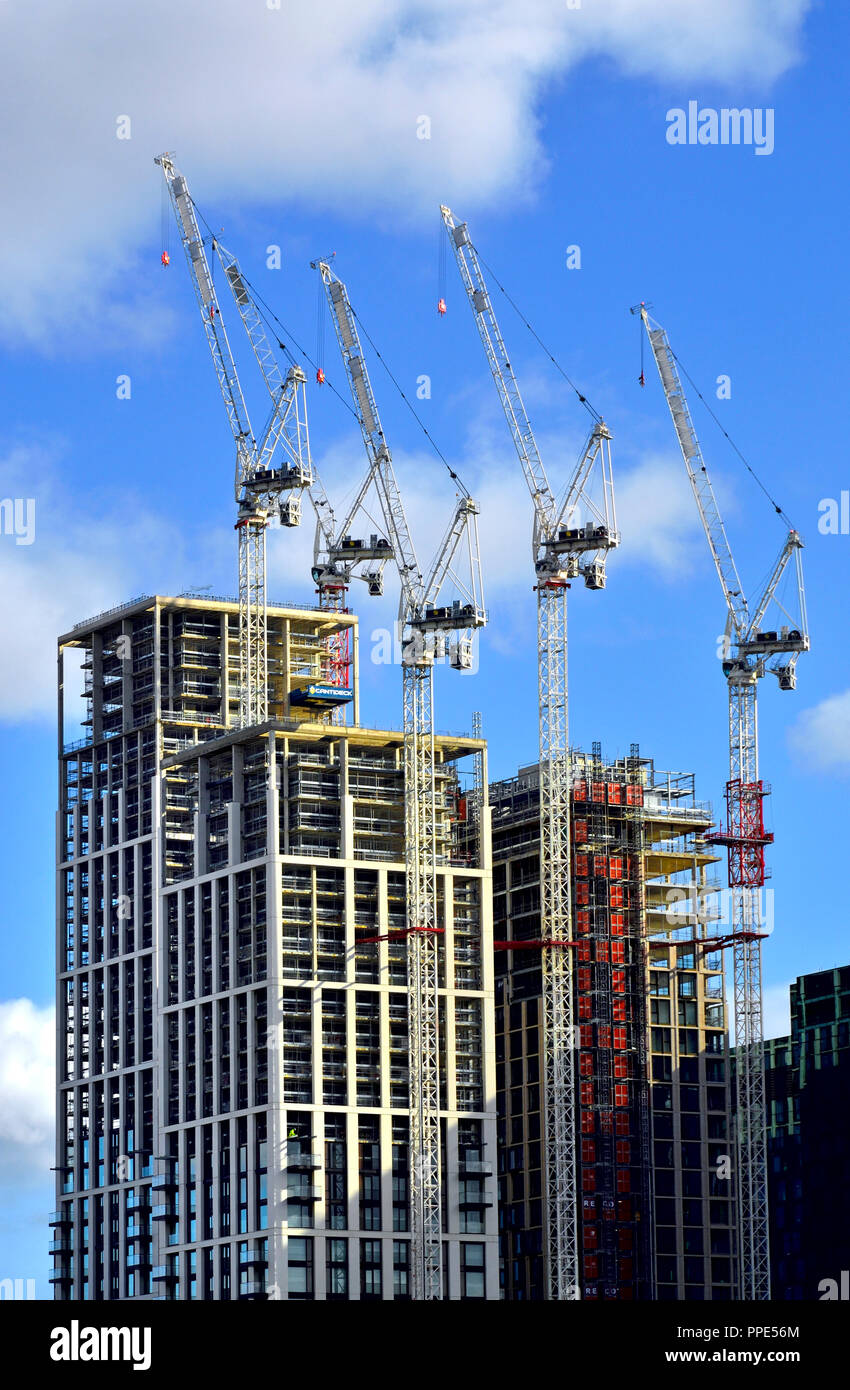 Construction work on new buildings on the South Bank, London, England, UK. - Stock Image