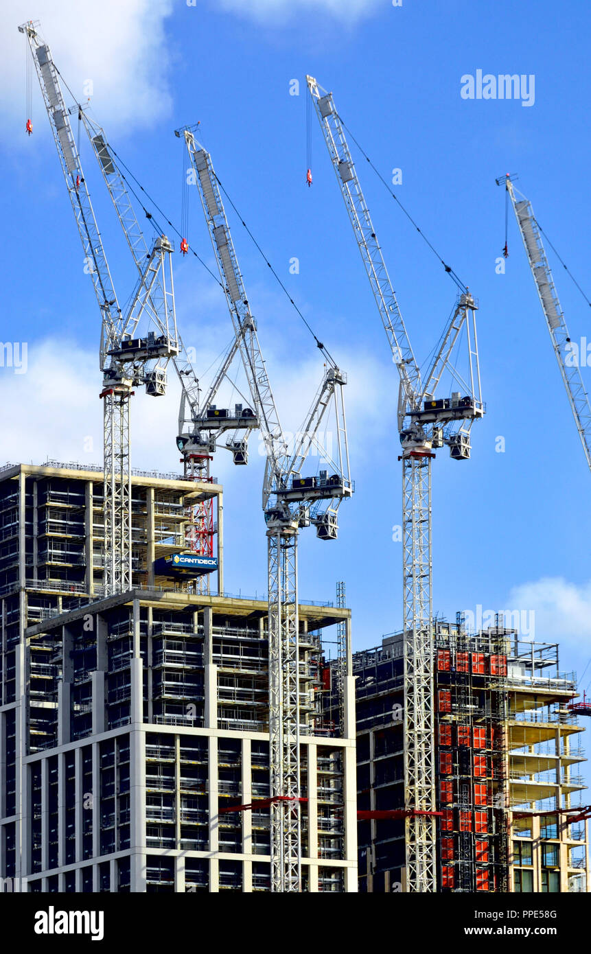 Construction work on new buildings on the South Bank, London, England, UK. Stock Photo
