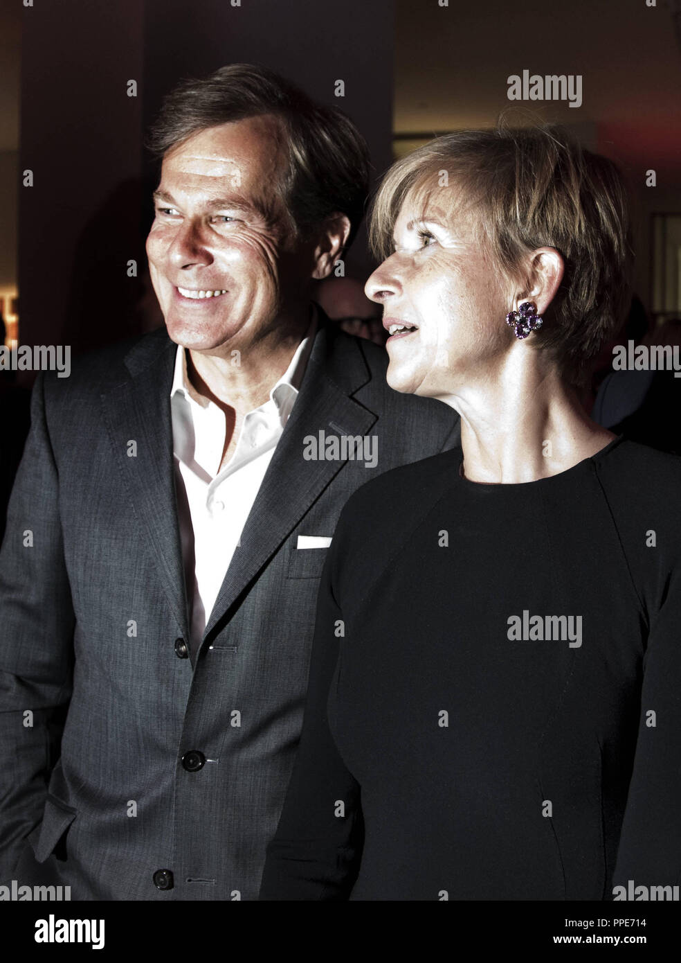 Entrepreneur Susanne Klatten with husband Jan Klatten at the 13th PIN Fest of 'Friends of the Pinakothek der Moderne'. As every year, the motto of the evening is LET'S PARTY FOR A PIECE OF ART. - Stock Image