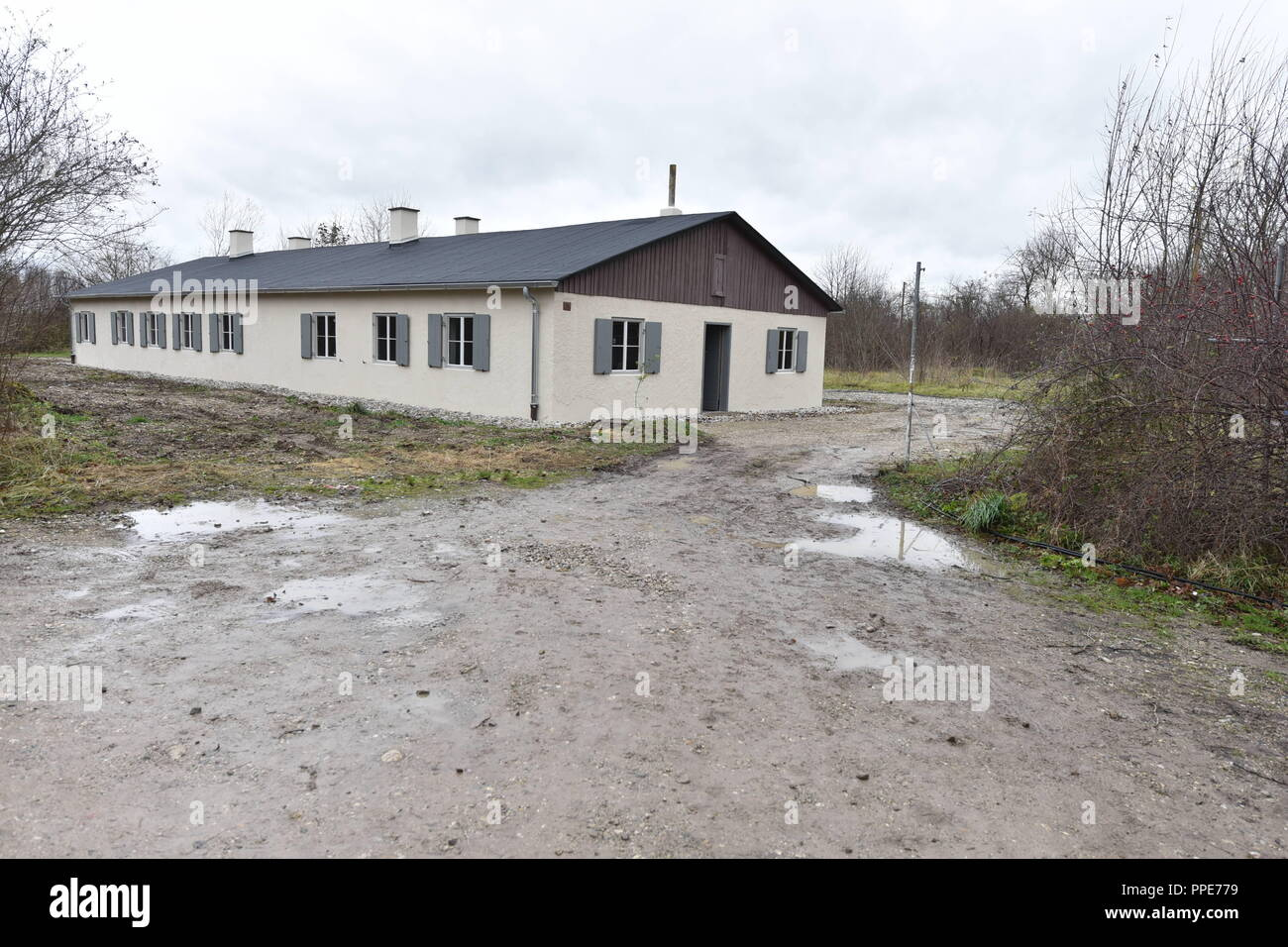 The listed Barrack 5 in the former forced labor camp at the Ehrenbuergstrasse in Neuaubing has been handed over to the NS Documentation Center as an exhibition site after elaborate refurbishment. The historic building will be the starting point for a tour of the 24,000-square-meter former camp site, on which a memorial site is planned to commemorate the victims of the Nazi regime. - Stock Image