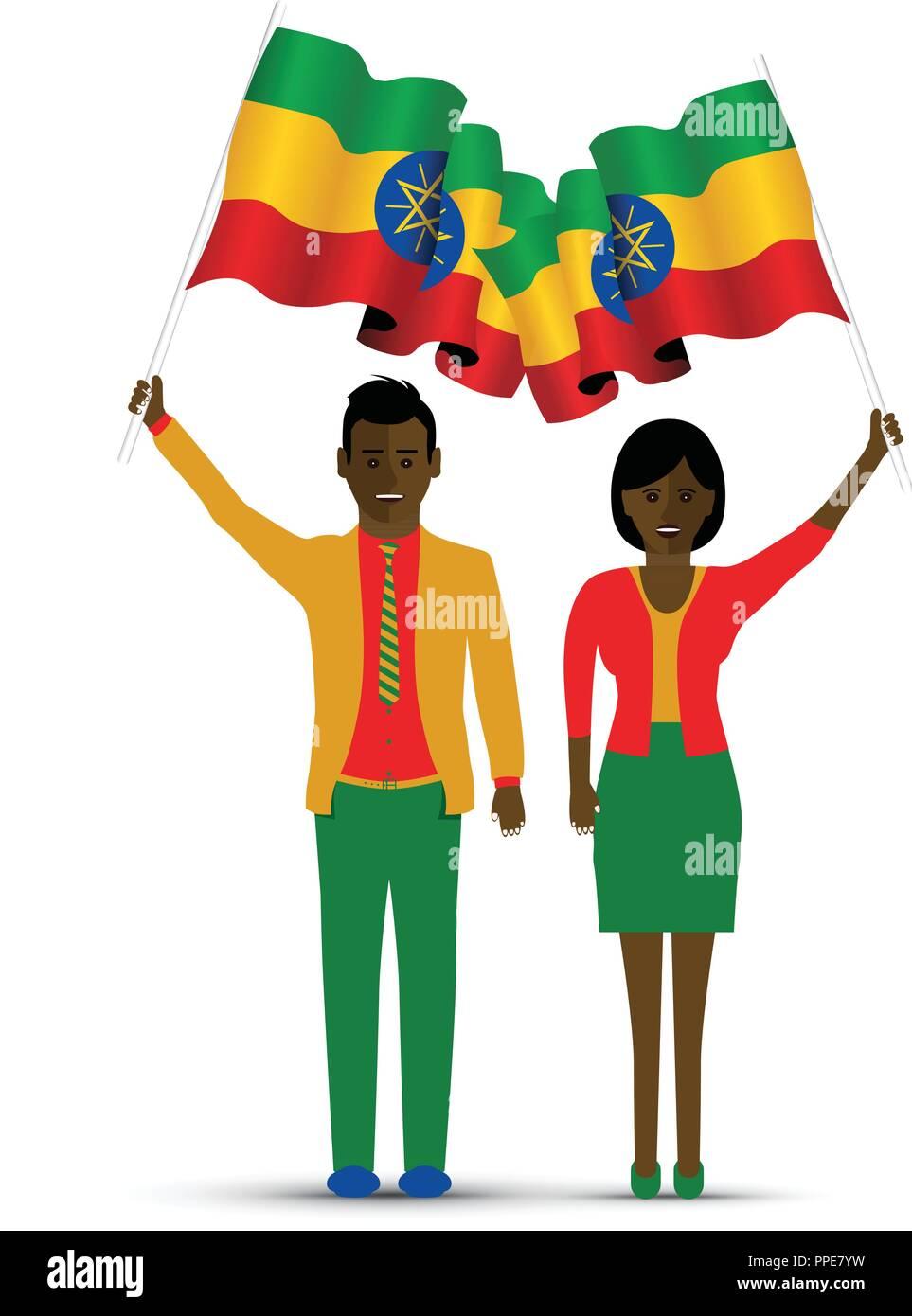 Ethiopia flag waving - Stock Vector
