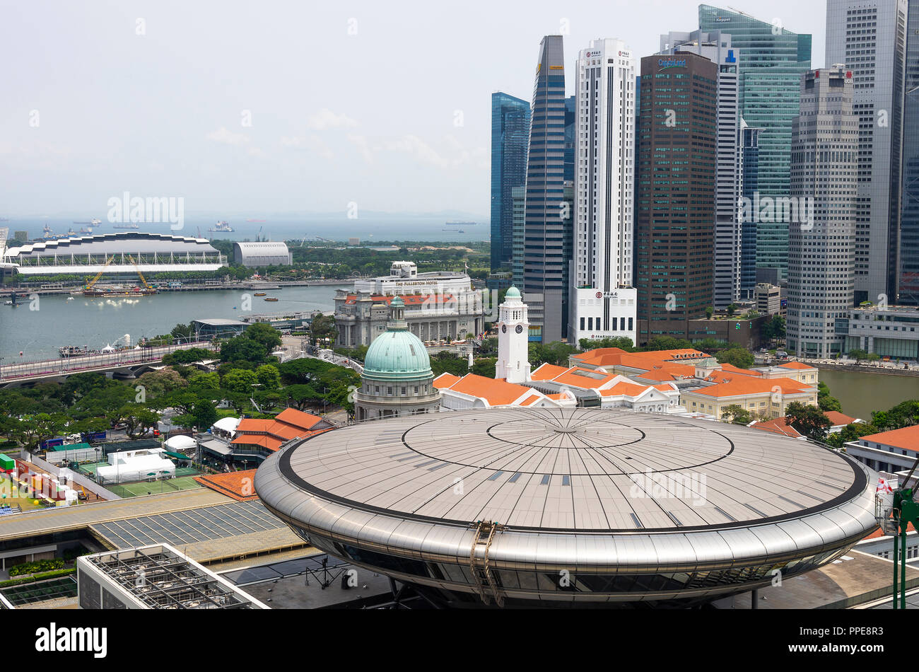 Aerial View of the Old and New Supreme Court Buildings with Asian Civilisations Museum and Financial District of Downtown Singapore Asia - Stock Image