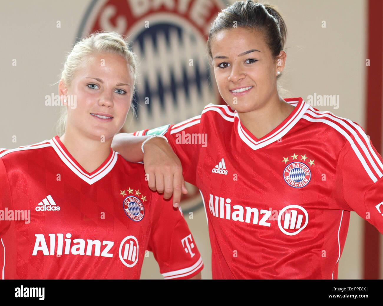Women's soccer - Bundesliga 1 2013/2014: The national players Leonie Maier and Lena Lotzen from FC Bayern Munich. - Stock Image