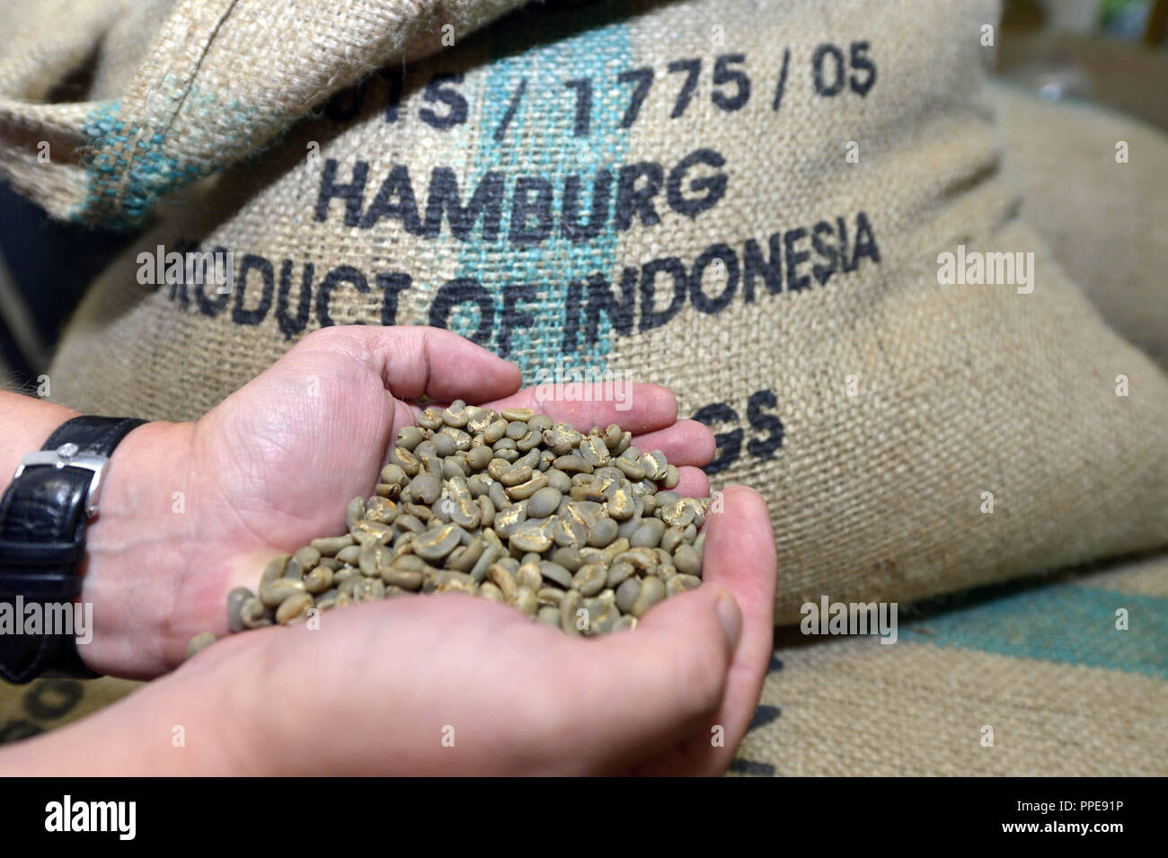 Coffee sack in the coffee roastery of Harald Faust in the Kraemer'sche Kunstmuehle. - Stock Image