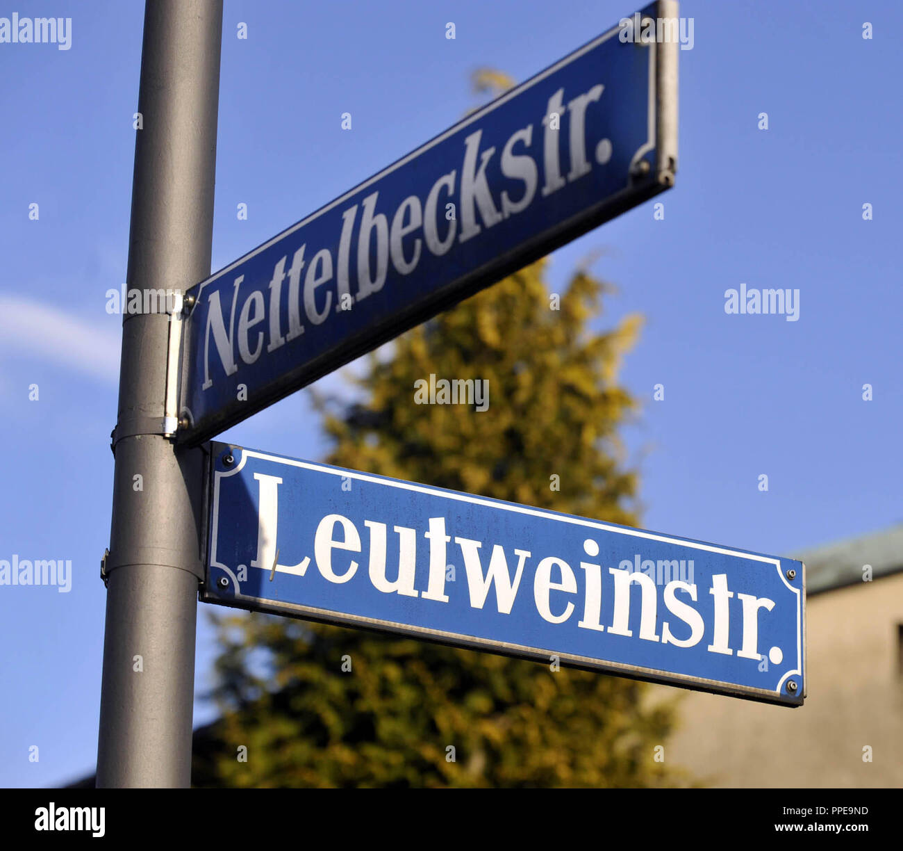 Locations and street names from the colonial period, here the Nettelbeckstrasse corner Leutweinstrasse, a name change comes to discussion again and again. - Stock Image
