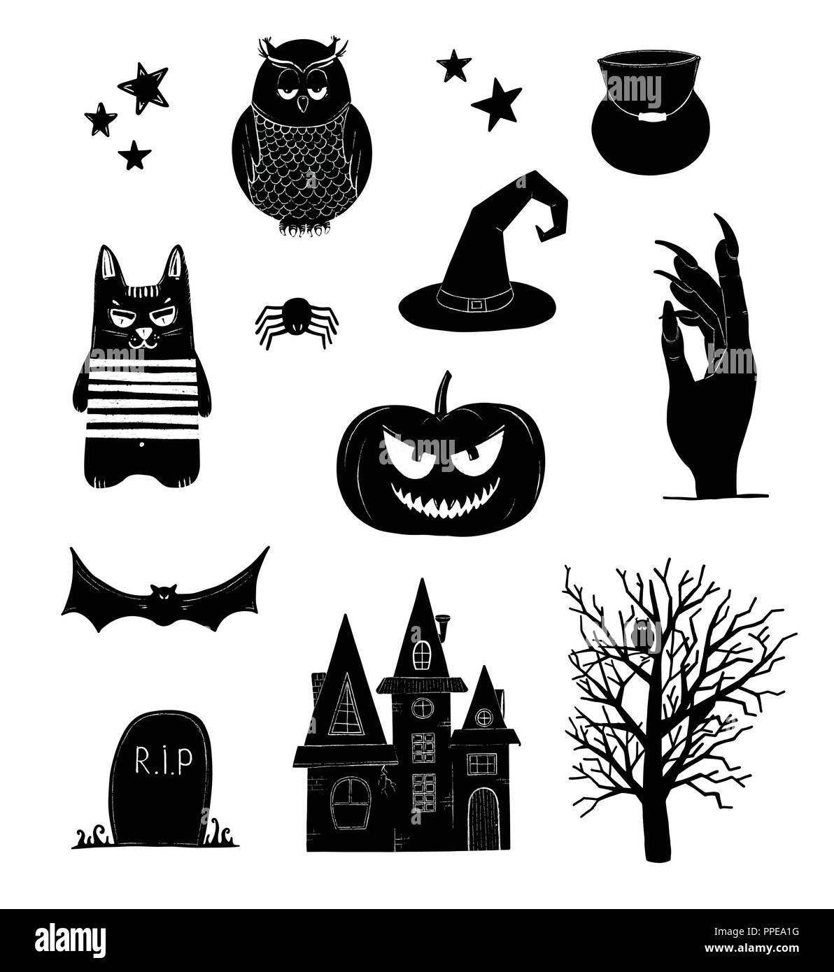 Halloween Vector Black And White.Halloween Vector Clip Art Black And White Pumpkin Owl Witch Bat