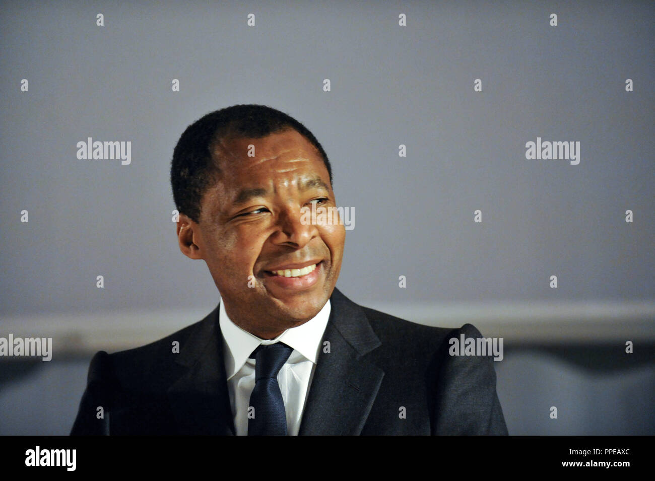 The Nigerian Okwui Enwezor, the designated director of the Haus der Kunst in Munich. The picture shows him at his presentation, eight months before the start of service (01.10.2011). - Stock Image
