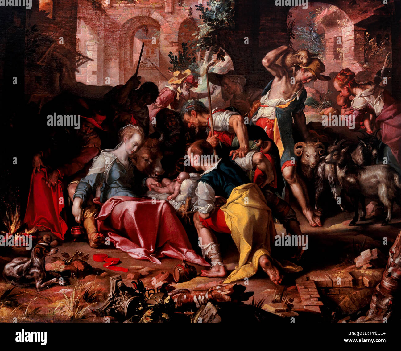 Joachim Wtewael, The Adoration of the Shepherds 1598 Oil on canvas. Centraal Museum in Utrecht, Netherlands. - Stock Image