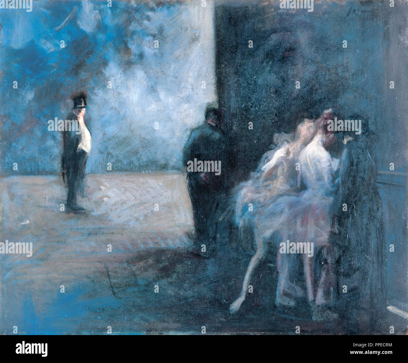 Jean-Louis Forain, Backstage - Symphony in Blue. Circa 1900-1923. Oil on panel. Ohara Museum of Art, Kurashiki, Japan. - Stock Image