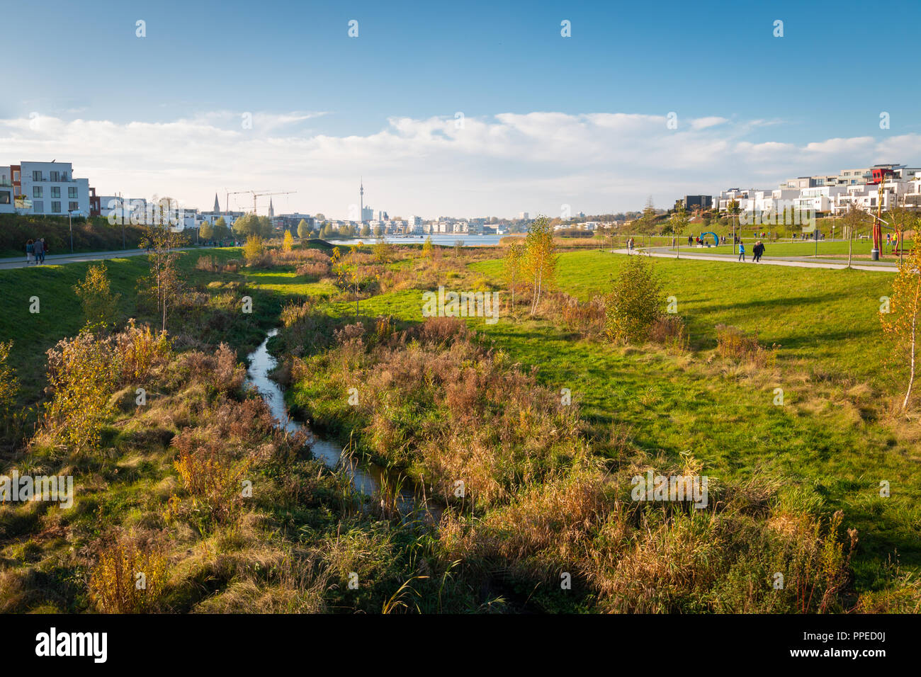Panorama of Phoenixsee in the German city of Dortmund on a sunny afternoon in autumn - Stock Image