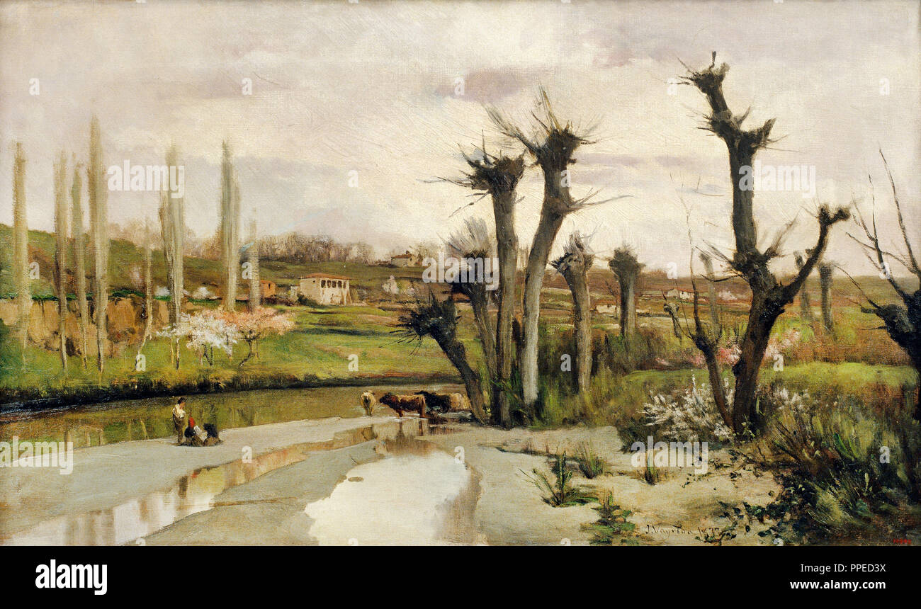 Joaquim Vayreda i Vila - The Beginning of Spring. 1877 Oil on canvas. Museu Nacional d'Art de Catalunya, Barcelona, Spain. - Stock Image