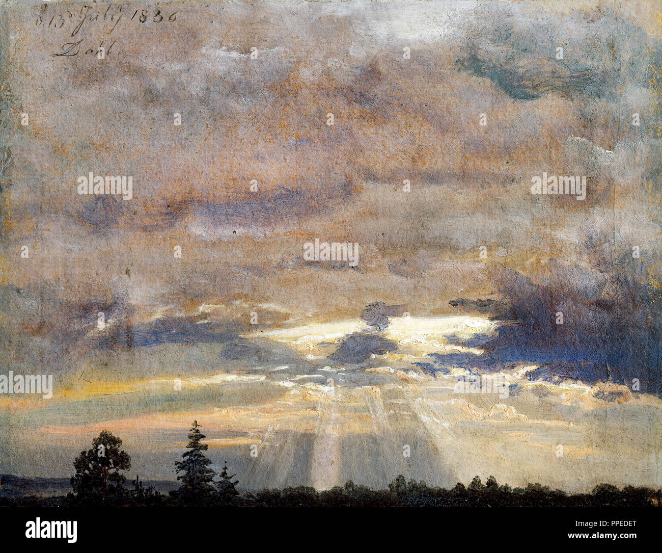 Johan Christian Dahl - Cloud Study with Sunbeams 1836 Oil on paper. National Gallery of Norway, Oslo, Norway. - Stock Image