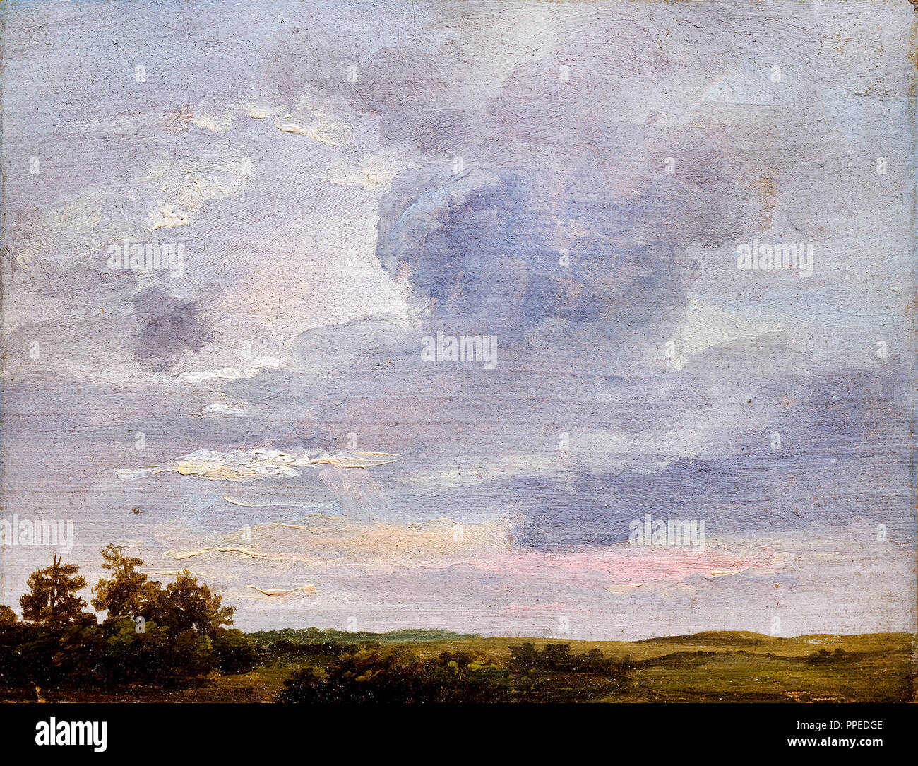 Johan Christian Dahl - Cloud Study Over Flat Landscape 1837 Oil on paper. National Gallery of Norway, Oslo, Norway. - Stock Image