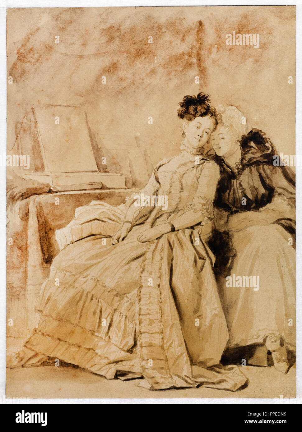 Jean-Honore Fragonard, The Intimate Conversation. Circa 1778-1780. Pencil, pen and brush, brown and black ink, on paper. Museum Boijmans Van Beuningen - Stock Image