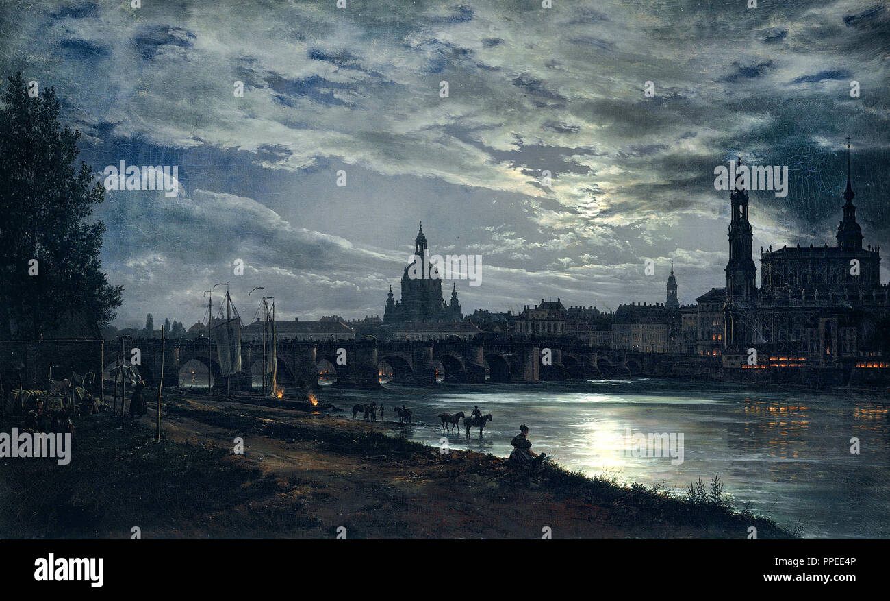 Johan Christian Dahl - View of Dresden by Moonlight 1839 Oil on canvas. Galerie Neue Meister, Dresden, Germany. - Stock Image