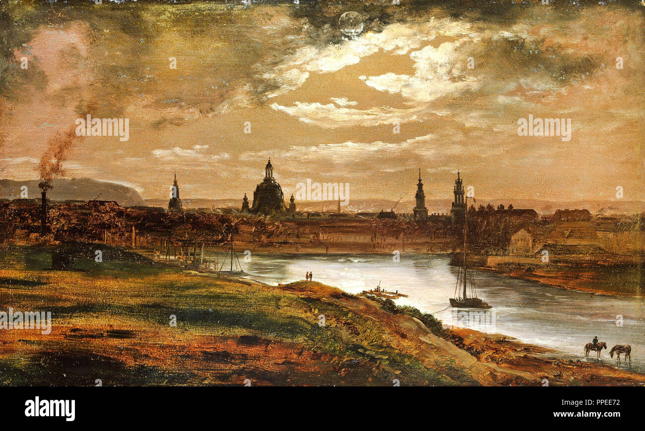 Johan Christian Dahl - Dresden by Moonlight 1845 Oil on paper mounted on cardboard. National Gallery of Norway, Oslo, Norway. - Stock Image