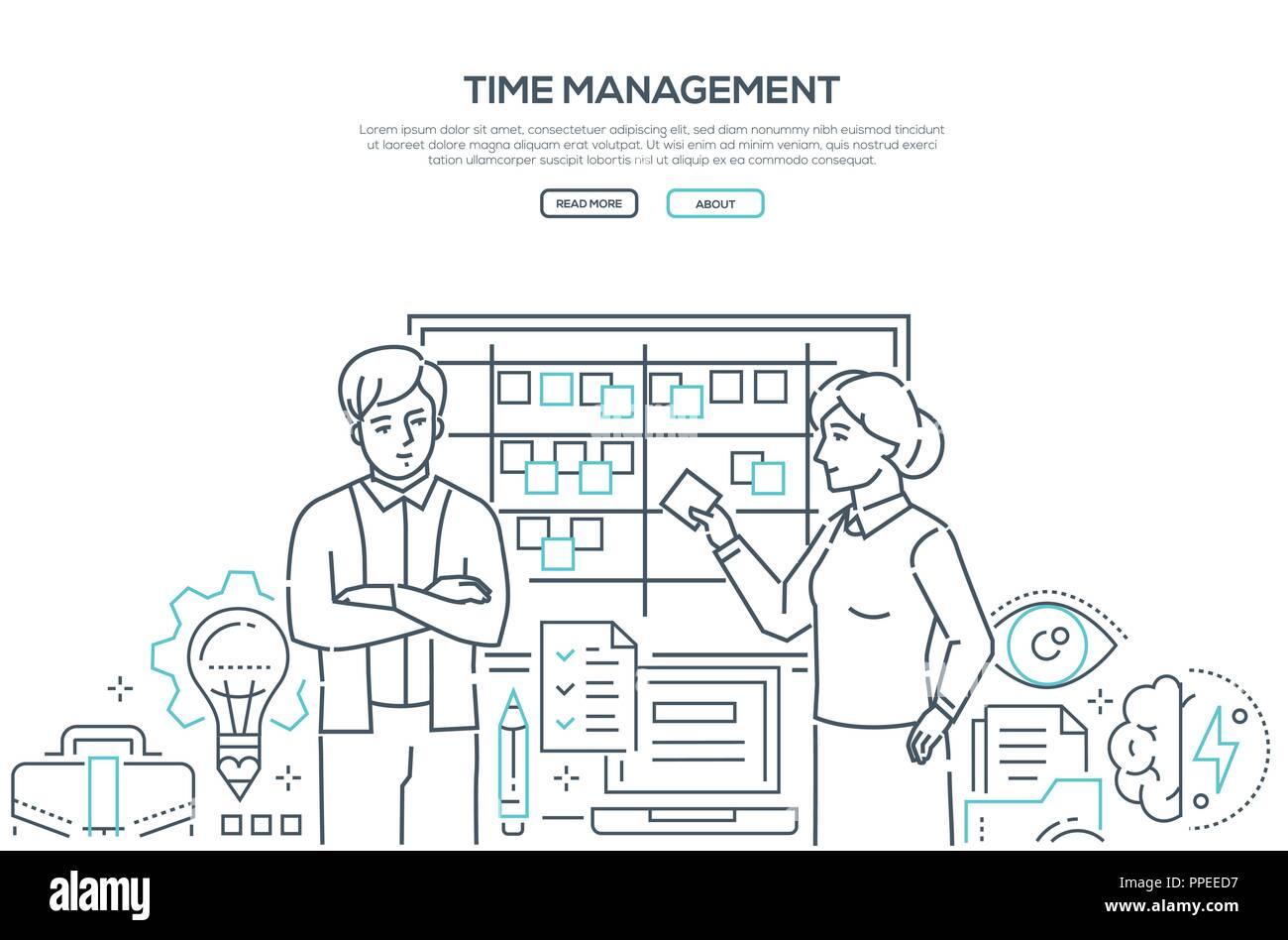 Time Management Modern Line Design Style Banner Stock Vector Image Art Alamy