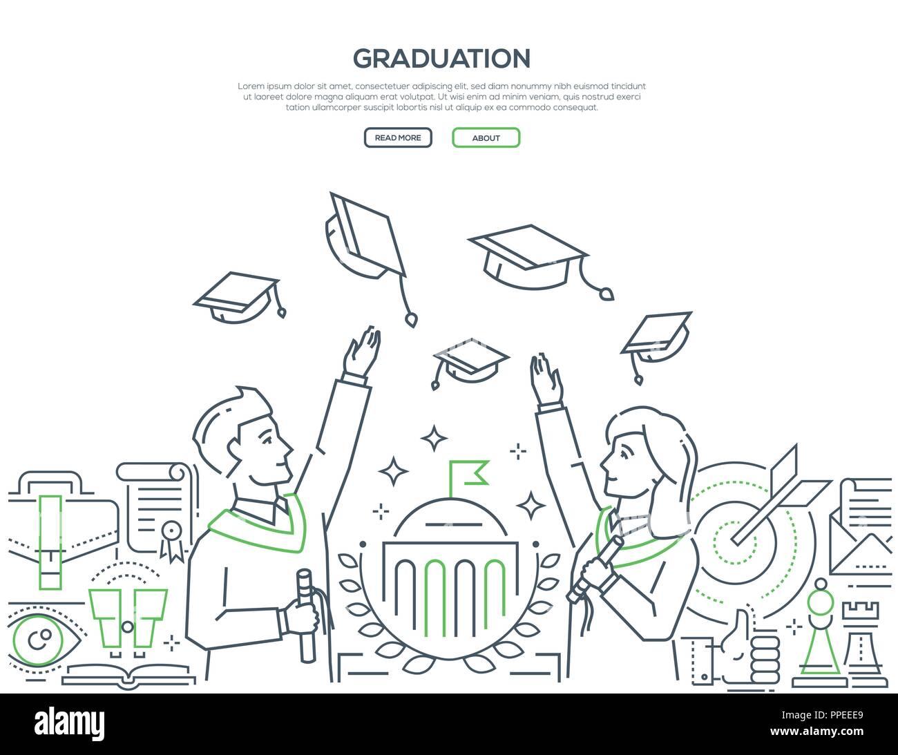 Graduation - colorful line design style web banner - Stock Image