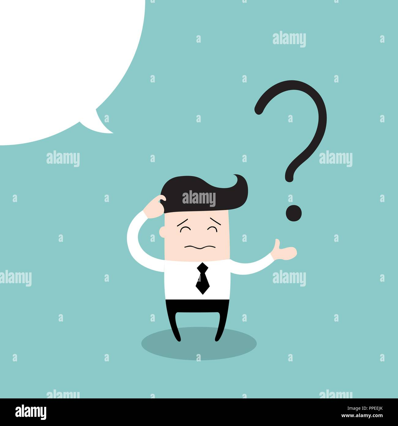 Business man scratches his head in indecision on a question mark - Stock Vector