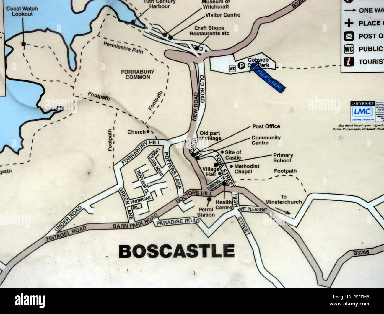 Map Of Boscastle Map of Boscastle Stock Photo: 220365720   Alamy