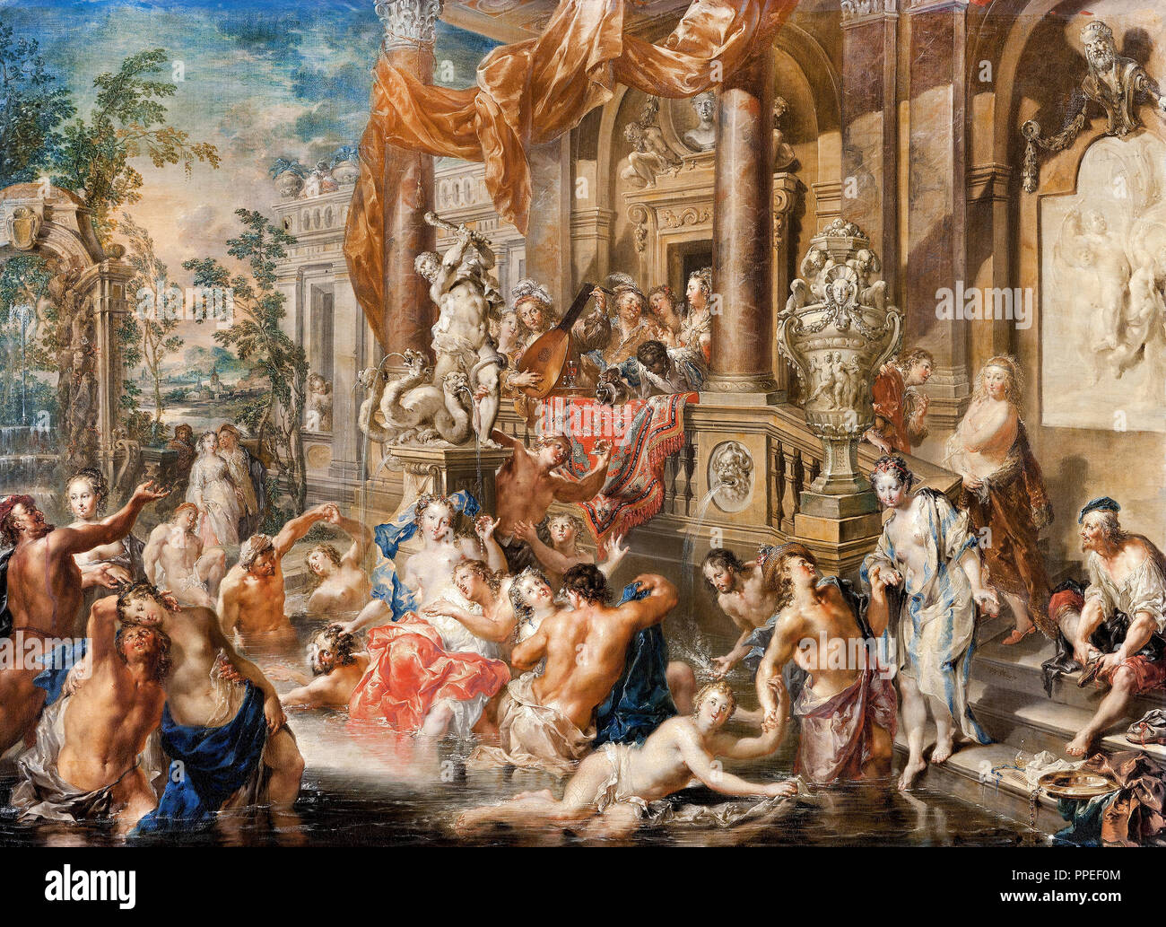 Johann Georg Platzer - Fountain Scene in Front of a Palace. Circa 1730 - 1735. Oil on copper. Skokloster Castle, Habo, Sweden. - Stock Image