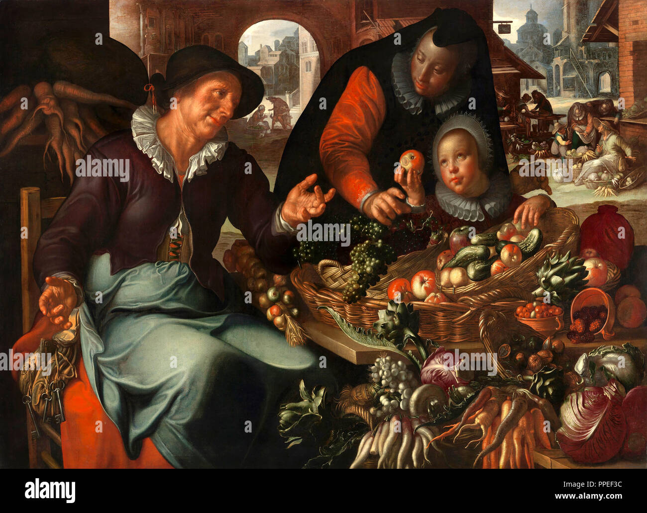 Joachim Wtewael, The Fruit and Vegetable Seller. Circa 1618. Oil on canvas. Centraal Museum in Utrecht, Netherlands. - Stock Image