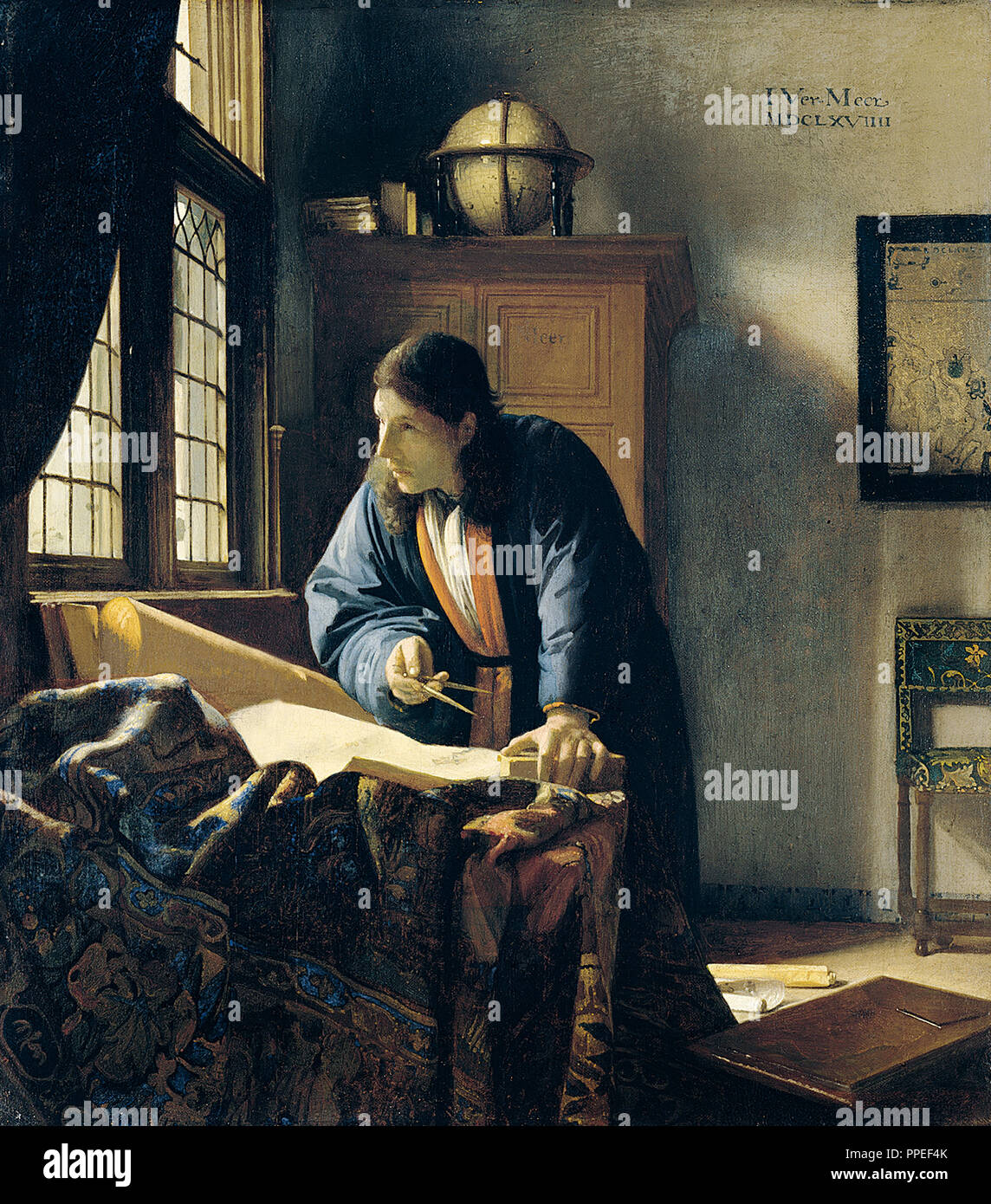 Johannes Vermeer - The Geographer. 1669 Oil on canvas. Stadel Museum, Frankfurt, Germany. - Stock Image