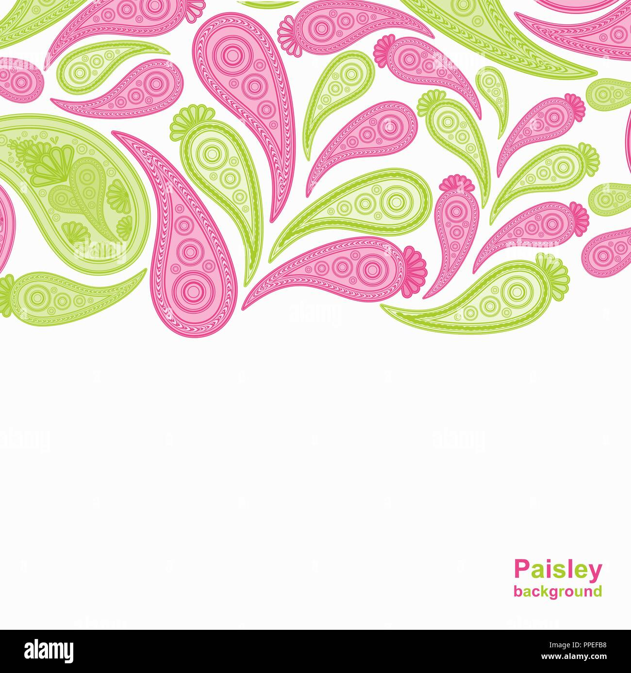 Paisley Pink And Green Vector Background Floral Abstract Design Pattern Indian Art Ornament Stock Vector Image Art Alamy