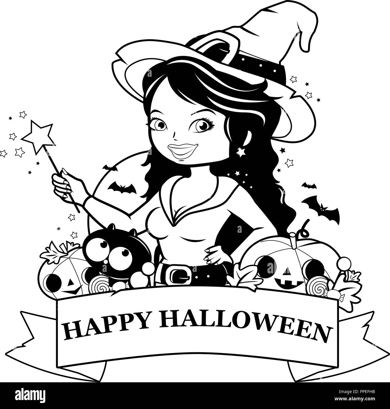 Halloween witch, pumpkins and treats. Black and white coloring book page - Stock Image