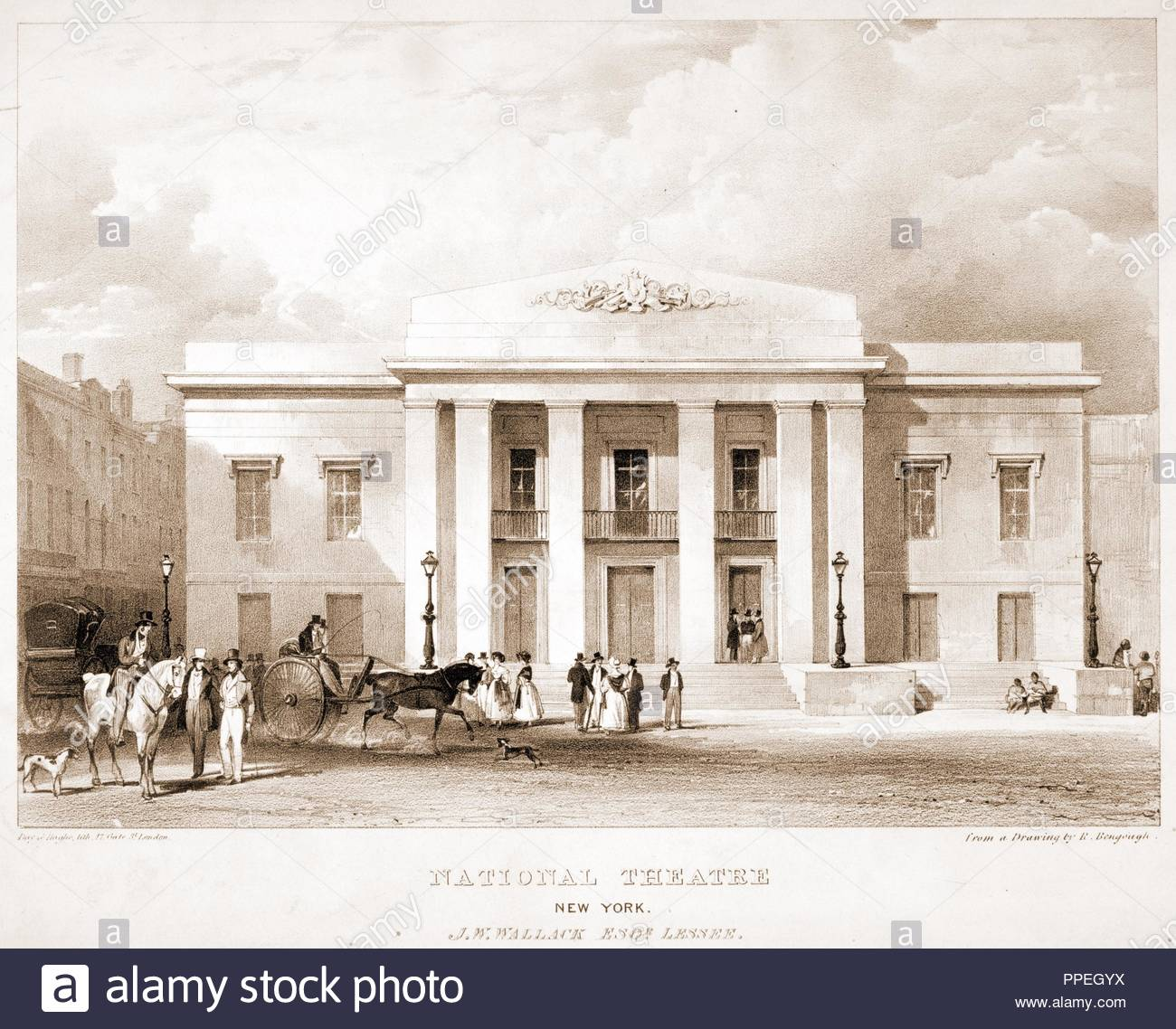 National Theatre, New York. J.W. Wallack, Esqr., lessee / Day & Haghe, lith., 17 Gate St., London ; from a drawing by R. Bengough.; Day & Haghe, lithographer; [between 1840 and 1860]; 1 print. - Stock Image